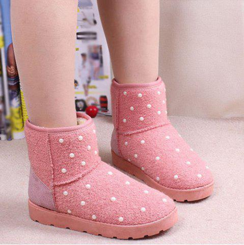 Unique Fuzzy Beaded Snow Boots PINK 39