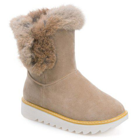 Latest Furry Platform Snow Boots APRICOT 39