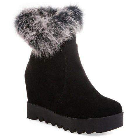 Fancy Furry Suede Hidden Wedge Boots BLACK 39