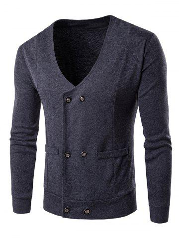 V Neck Double Breasted Knitting Cardigan - GRAY XL