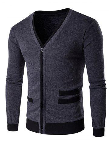 Chic V-Neck Single-Breasted Selvedge Spliced Knitting Cardigan