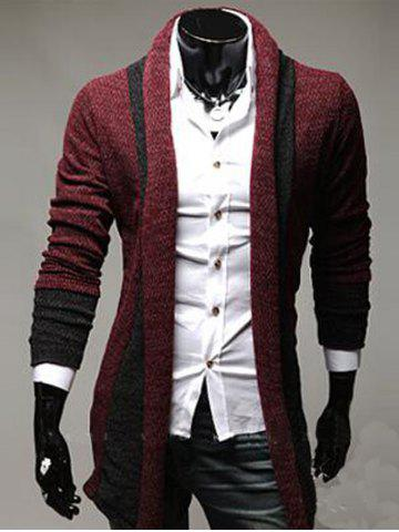 Trendy Color Block Panel Longline Knitting Cardigan WINE RED 2XL