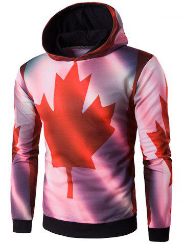 Outfits Hooded 3D Maple Leaf Print Patriotic Hoodie COLORMIX 2XL