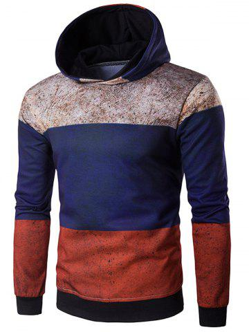 Discount Hooded Color Block Spliced Distressed Print Hoodie COLORMIX L