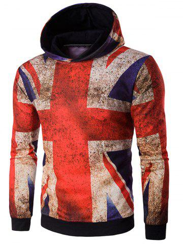 Hooded Distressed Union Jack Print Hoodie - Colormix - M