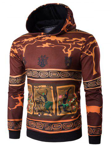 Discount Hooded 3D Ethnic Style Cartoon Print Hoodie COLORMIX 2XL