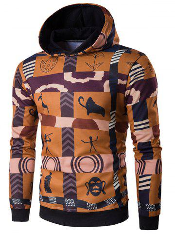 Cheap Hooded 3D Ethnic Style Totem Print Hoodie COLORMIX 2XL