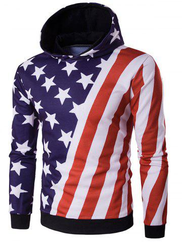 Hooded Oblique American Flag Print Hoodie - Colormix - M