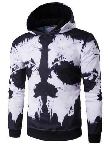 Hot Hooded Skull Face Print Hoodie - 2XL WHITE AND BLACK Mobile