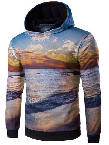 Chic Hooded 3D Dusk and Beach Print Hoodie COLORMIX 2XL