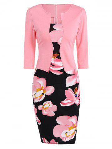 Discount Floral Sheath Pencil Work Dress PINK 4XL