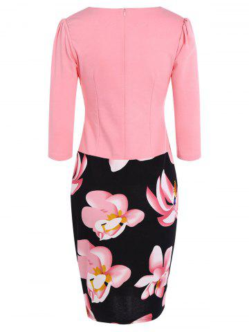 Sale Floral Sheath Pencil Work Dress - L PINK Mobile