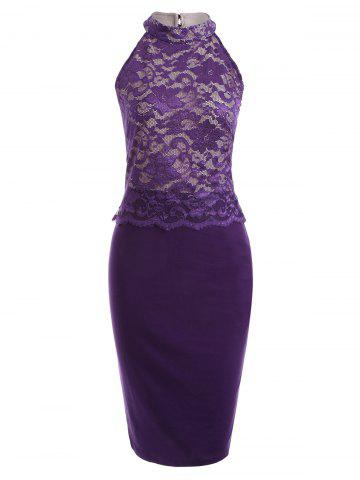 Affordable Cut Out Lace Panel Bodycon Dress PURPLE S