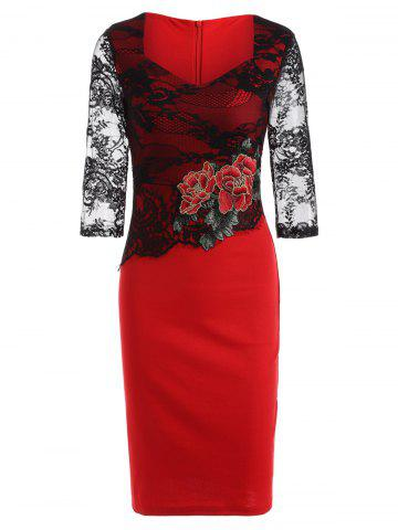 Trendy Rose Embroidered Lace Spliced Pencil Dress RED 4XL