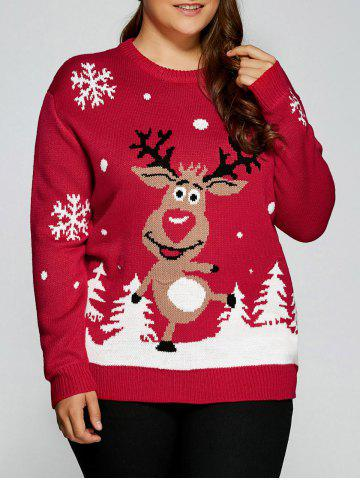 Unique Plus Size Snowflake Fawn Christmas Sweater RED 5XL