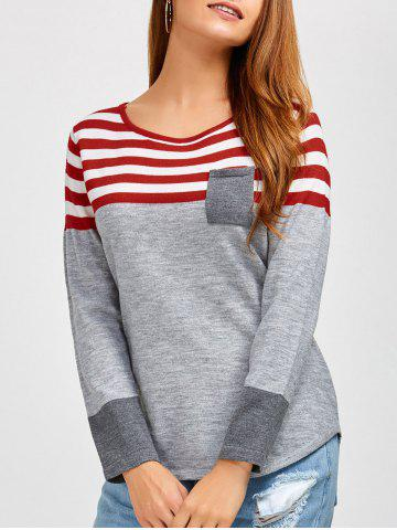 Outfits Casual Long Sleeves Striped Pullover Sweater GRAY L
