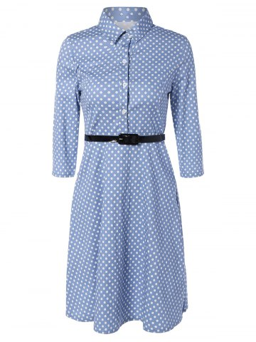 Chic Polka Dot Knee Length Flare Dress LIGHT BLUE L