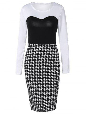 Buy Long Sleeve Houndstooth Midi Sheath Dress BLACK WHITE XL