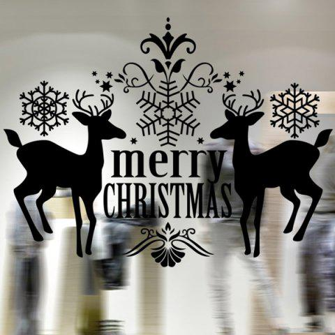 Outfit Merry Christmas Deer Pattern Wall Stickers Showcase Decoration BLACK