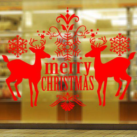 Merry Christmas Deer Pattern Wall Stickers Showcase Decoration - Red