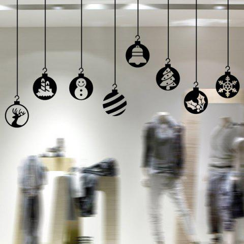 Outfits Merry Christmas Pendants Wall Stickers Window Showcase Decoration BLACK