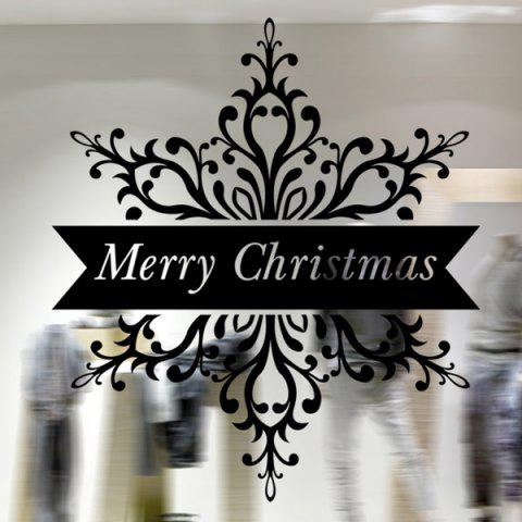 Discount Merry Christmas Banner Wall Stickers Window Showcase Decoration BLACK