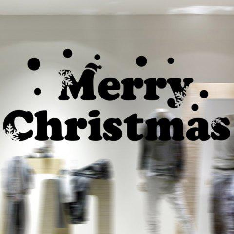 Online Window Showcase Decoration Merry Christmas Slogan Wall Stickers BLACK