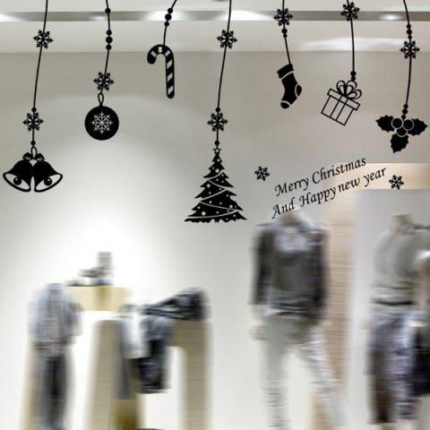 Sale Christmas Gift Decorative Pendants Removable Window Wall Stickers BLACK