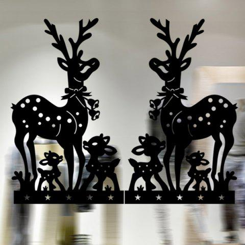 Buy Removable Deer Pattern Christmas Showcase Wall Stickers BLACK