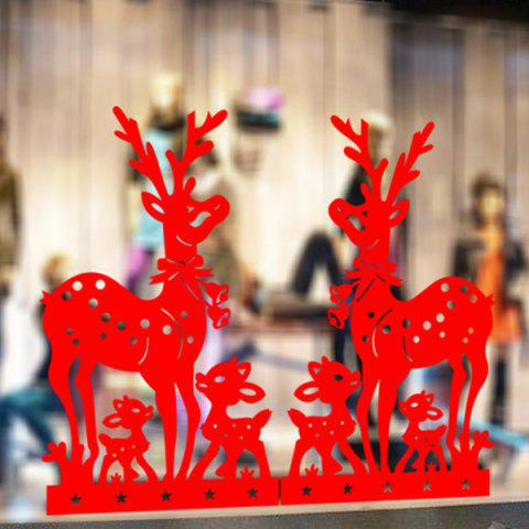 Removable Deer Pattern Christmas Showcase Wall Stickers - Red