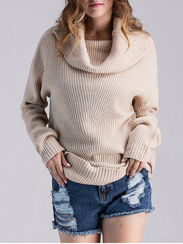 Cheap Loose Fit Ribbed Cowl Sweater LIGHT APRICOT ONE SIZE