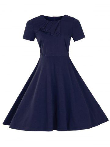 Best Retro Slant Button Ruched Flare Dress PURPLISH BLUE 2XL