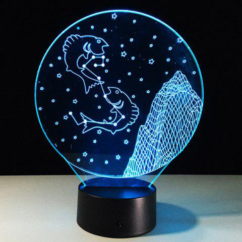 Trendy 3D Visual 7 Color Change Pisces Shape Touching LED Night Light COLORFUL