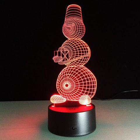 Outfit 3D Visual 7 Color Change Snowman Shape Touching LED Night Light COLORFUL