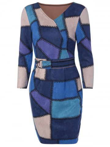 Affordable Plaid Faux Suede Sheath Dress