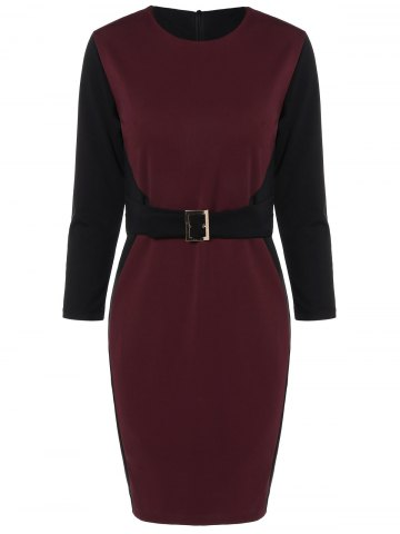 Chic Color Block Knee Length Bodycon Dress WINE RED XL