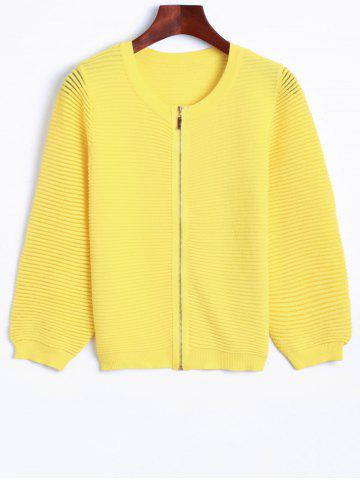 Latest Puff Sleeve Zip Up Knit Cardigan YELLOW L