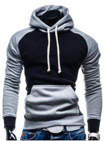 Discount Hooded Color Block Splicing Design Drawstring Black and Grey Hoodie BLACK/GREY 2XL
