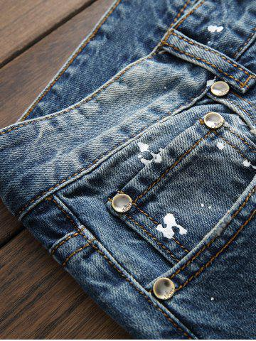 Outfit Paint Splatter Print Scratched Zipper Fly Jeans - 33 BLUE Mobile
