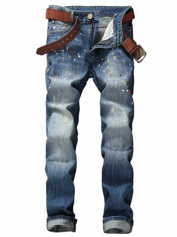 Best Paint Splatter Print Scratched Zipper Fly Jeans BLUE 33
