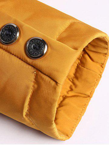 Online Zippered Detachable Faux Fur Hood Padded Jacket - 2XL YELLOW Mobile