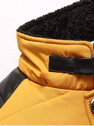 Affordable Zippered Detachable Faux Fur Hood Padded Jacket - M YELLOW Mobile
