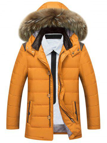 Online Zippered Detachable Faux Fur Hood Padded Jacket YELLOW M
