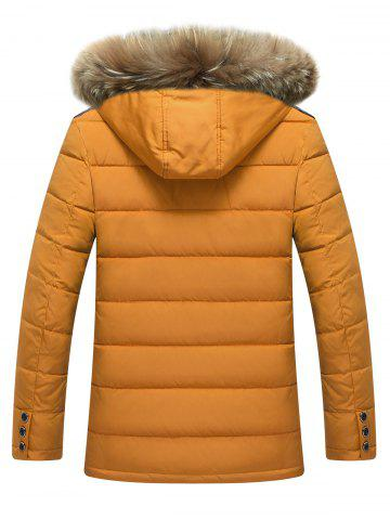 Latest Zippered Detachable Faux Fur Hood Padded Jacket - M YELLOW Mobile
