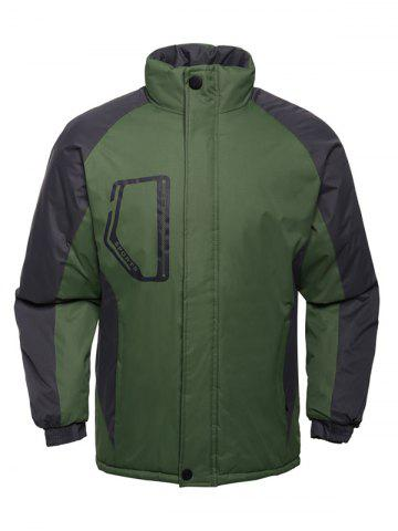 Shop Stand Collar Texture Two Tone Padded Jacket