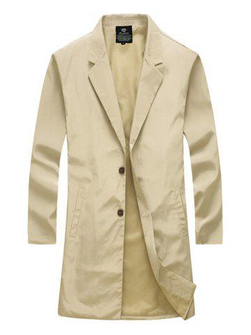 Discount Notch Lapel Side Pocket Single Breasted Coat - M KHAKI Mobile