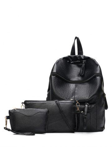 Best Textured Leather Pockets Zippers Backpack BLACK