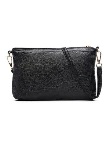 Fancy Textured Leather Pockets Zippers Backpack - BLACK  Mobile