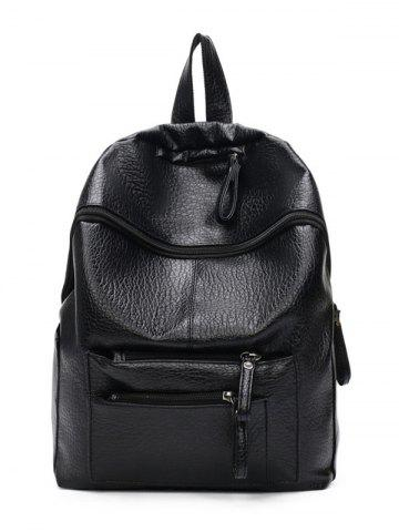Shops Textured Leather Pockets Zippers Backpack - BLACK  Mobile
