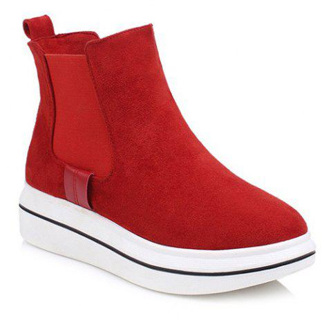 Hot Elastic Band Platform Suede Ankle Boots